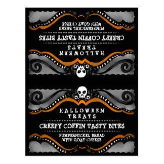 Halloween Treats Food Tent Card  Black Orang Skull Post Card