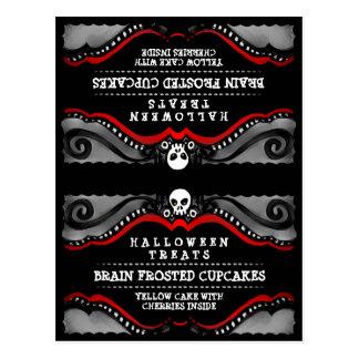 Halloween Treats Food Tent Card  Black & Red Skull Postcard