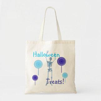 """Halloween Treats!"" Skeleton and Lollipops Budget Tote Bag"