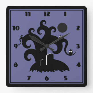 Halloween Tree Square Wallclock