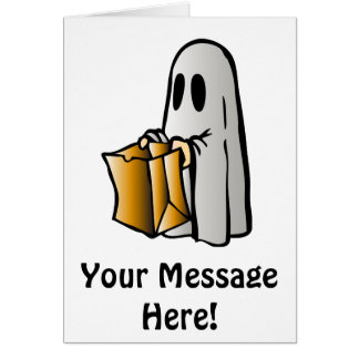 Halloween Trick or Treat Candy Ghost Greeting Card