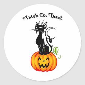 Halloween Trick or Treat Cat Classic Round Sticker