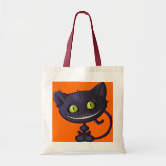 Halloween Trick Or Treat Grinning Black Cat Budget Tote Bag