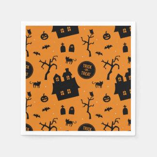 Halloween Trick or Treat Orange Black Pattern Disposable Napkin