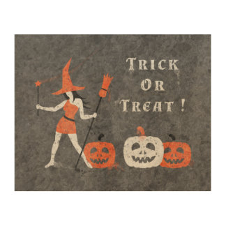 Halloween Trick or Treat Painting Wood Canvas
