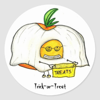 Halloween Trick or Treat Tomato Ghost Round Sticker