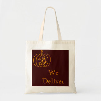 Halloween Trick or Treat We Deliver Pumpkin Tote Canvas Bag