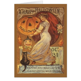 Halloween Vintage Woman and Jack o' Lantern Greeting Card