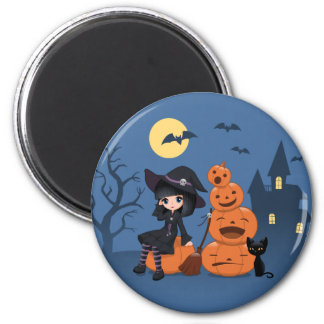 Halloween Witch, Black Cat, and Pumpkins Magnet