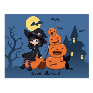 Halloween Witch, Black Cat, and Pumpkins Postcard