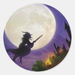 Halloween Witch Full Moon Round Sticker