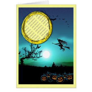 Halloween Witch, Jack o' Lanterns, Photo Frame Card
