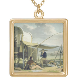 Halt of a Boor's Family, plate 17 from 'African Sc Gold Plated Necklace