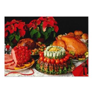 Ham, roast and turkey flowers 13 cm x 18 cm invitation card