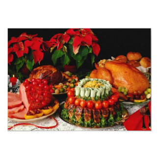 "Ham, roast and turkey flowers 5"" x 7"" invitation card"