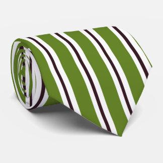 HAMbyWG - Tie - Olive Green White w/ Blk Stripe