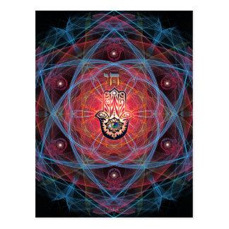Hamsa - CHAI - Sacred Geometry Postcard