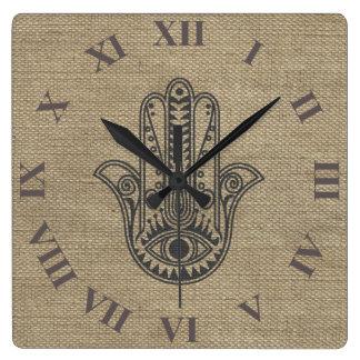 HAMSA Hand of Fatima symbol amulet Square Wall Clock