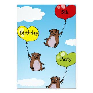 Hamster balloons, 5th birthday party 9 cm x 13 cm invitation card