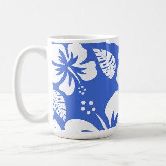 Han Blue Hawaiian Tropical Hibiscus Coffee Mug
