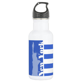 Han Blue Horizontal Stripes; New York 532 Ml Water Bottle