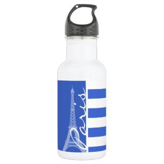 Han Blue Horizontal Stripes; Paris 532 Ml Water Bottle