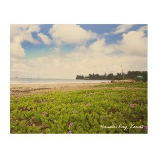 Hanalei Bay Kauai Hawaii Beach Scene Wood Canvases