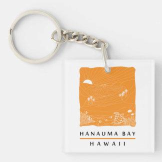 Hanauma Bay Oahu Hawaii Double-Sided Square Acrylic Key Ring