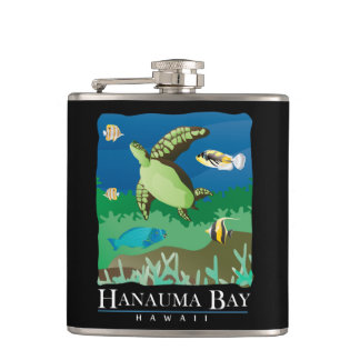 Hanauma Bay Oahu Hawaii Hip Flask