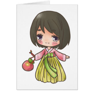 Hanbok Girl & Her Purse Card