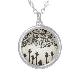 Hand a science silver plated necklace