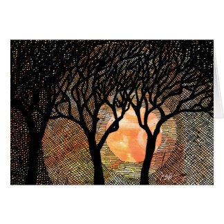 Hand Carved and Cross Hatched Trees on Orange Note Card