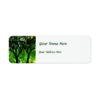 Hand Carved Trees on Green Marbling Return Address Label