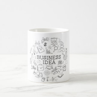 hand draw doodle web charts business elements coffee mug