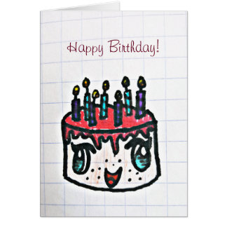 Hand drawn birthday cake | card