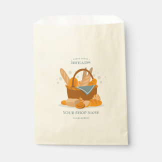 Hand Drawn Bread Basket For Bakery Shop Favor Bags