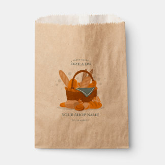 Hand Drawn Bread Basket For Bakery Shop Favor Bags Favour Bags