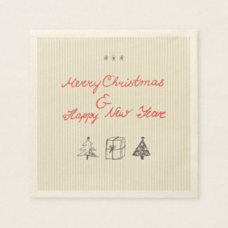 Hand drawn christmas napkin paper napkin