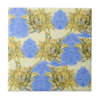 Hand Drawn Golden Flowers with blue background Tile