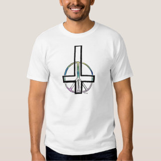 Hand drawn Inverted cross and peace sign. Tshirt