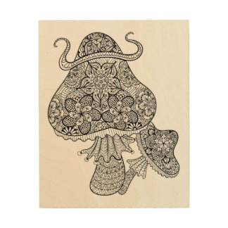 Hand Drawn Magic Mushrooms Doodle 5 Wood Wall Decor
