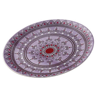 Hand Drawn Pretty Purple And Red Mandala Flower Plate