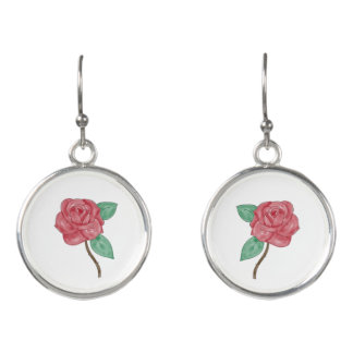 Hand Drawn Rose Drop Earrings