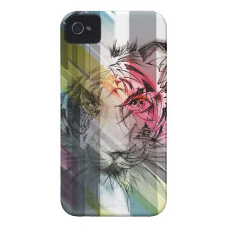 Hand drawn tiger on a striped background iPhone 4 cases