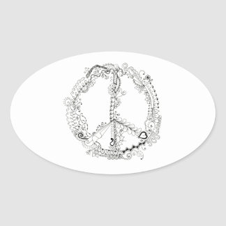 Hand Illustrated Floral Peace Sign Pen Art Oval Sticker