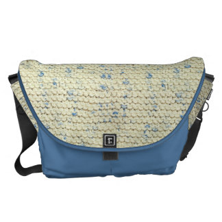 Hand Knit Garter Stitch with Cream and Blue Yarn Messenger Bag
