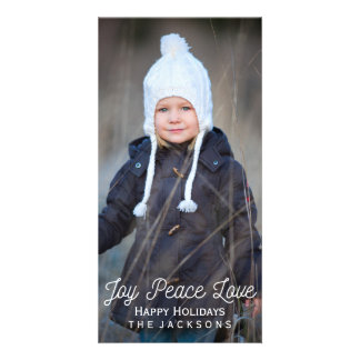 Hand Lettered Joy Peace Love Holiday Photo Photo Card