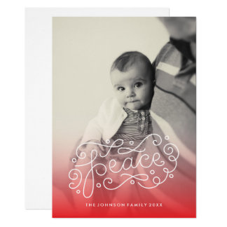 hand lettered peace holiday photo card