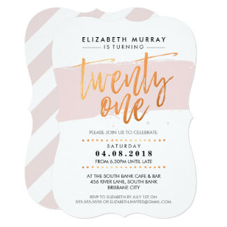 HAND LETTERED SCRIPT type trendy copper blush pink Card