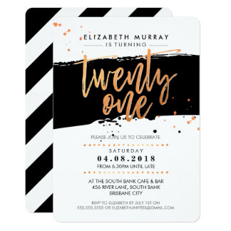HAND LETTERED SCRIPT type trendy copper foil black Card
